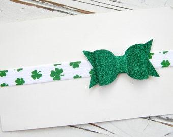 St. Patrick's Day Headband - St. Patrick's Day Bow Headband - St. Patrick's Day Baby Headband - St. Patrick's Day Glitter Bow Headband