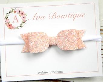 Blush Bow Headband - Blush Glitter Bow Headband - Baby Bow Headband - Nylon Headband - Baby Blush Bow Headband