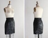 1980s Black Sequin Mini-skirt / Cocktail - Party skirt