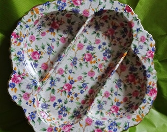 Royal Winton, Old Cottage, Chintz, Compartment Dish c1930's Grimwades, Serving Platter, Compartment Plate Royal Winton