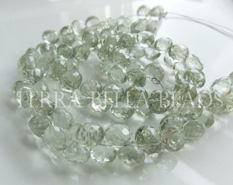 "4"" half strand AAA GREEN AMETHYST prasiolite faceted gem stone onion briolette beads 7mm - 8mm"