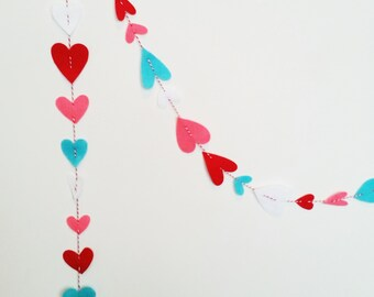 Felt Hearts with Turquoise Garland Vertically Hanging