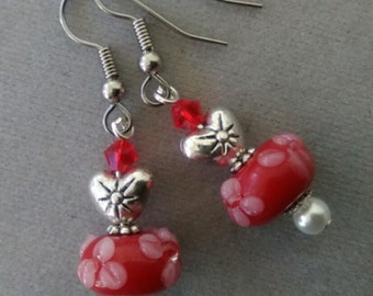 Red Floral Lampwork Glass and Swarovski Crystal Valentine Earrings
