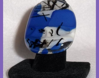 Large Fused Glass RING, Cobalt Blue Black White, Unique Design Statement Attire