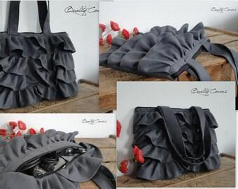 30% OFF / Ready to ship / 15''MacBook Laptop Ruffles Bag - Messenger Bag - Shoulder Bag / Fully padded - large hidden Pocket