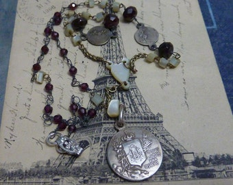 ANTIQUE sterling FRENCH MEDAL religious vintage assemblage necklace rosary