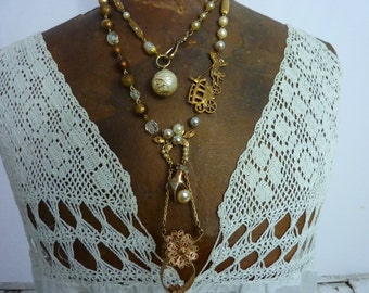 GLOVE HOLDER and hand vintage antique double wrap assemblage necklace