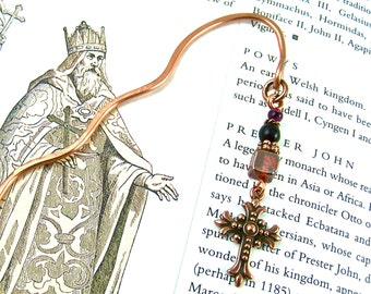Bookmark - Ornate Cross Charm - Ruby Red & Black Glass Beads with Hand Forged Hammered Copper Shepherd Hook
