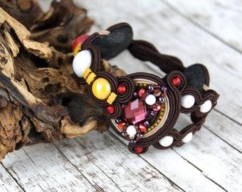 Soutache Bracelet / dark brown, red ,mustard, white