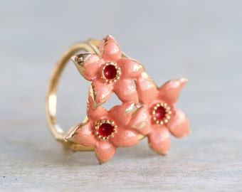 Pink Flowers Scarf Holder Ring - Vintage Enamel Jewelry
