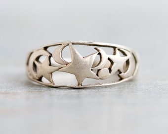 Stars and Moons Ring Sterling Silver - Size 9