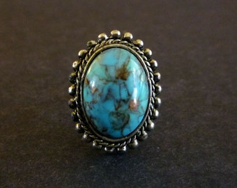 Southwestern Cocktail Ring, Faux Turquoise Adjustable Cocktail Ring, Vintage Cocktail Jewelry