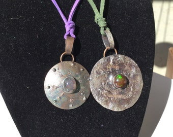 Artisan sterling silver opal brutalist pendant medallion Viking style necklace -LARGE GReeN SOLD OUT