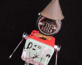 Tinker Toy Bot - found object robot sculpture assemblage by Cheri Kudja with Bitti Bots