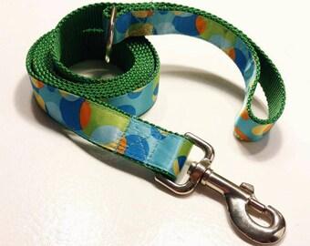 Green Leash, Green Lead, Dog Lead, Dog Leash and Leads, Blue Lead, Green and Blue Lead, Leash Green with Colored Translucent Circles