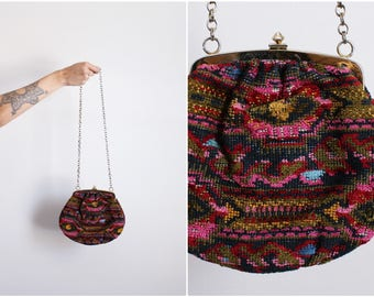 50s Tapestry Bag / Evening Bag / 1950s Carpet Purse / Embroidered Bag / Floral Bag / Clasp Purse