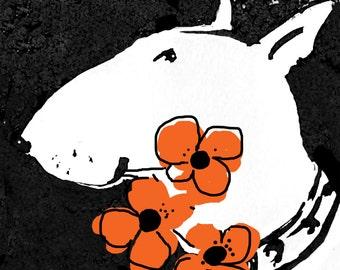 English Bull Terrier Blank Greeting Card Orange Poppies