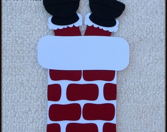 Die Cut Christmas Santa Stuck in Chimney Premade Paper Piecing Embellishment for Card Making Scrapbook or Paper Crafts