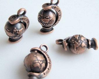 4pcs-3D Globe charm-antique Copper tone Earth Charm