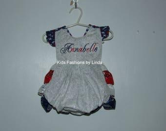 Personalized Patriotic  Ruffle Romper