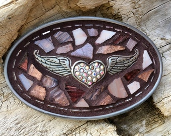 Winged Heart, Maroon belt, Oval Buckle, Rhinestone Belt,Mosaic Belt, Mosaic Belt Buckle,Leather belt, Women's Buckle,  Women's  Belt Buckle,