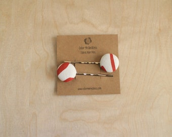 Hair Clips - Red and White