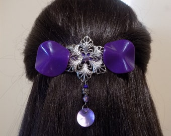 Large Purple Barrette for Thick Hair/Womens Gift