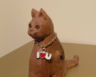 Carved Wooden Cat I love you Gift