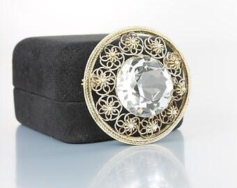 Rock Crystal Brooch, Sterling Dutch wedding Brooch, Silver Cannetille Etruscan Filigree vintage jewelry