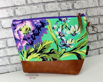AVA Clutch -Large - Bliss Purple with PU Leather READY to SHIp Cosmetic  Diaper bag Travel Make Up Zipper Pouch
