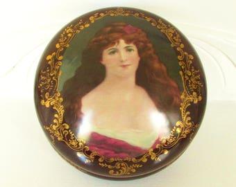 Large Vintage Porcelain Dresser Box Portrait Lady Victorian Revival 1940s