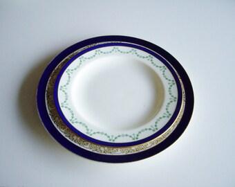 Antique, Fine China Plates, Mismatched, Green Cobalt Gold, Mix and Match, Cobalt Blue, Charles R Lynde, Cauldon, Crown Ducal Ware