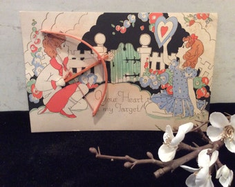 Vintage 1930's Valentines  Day Card Cupids Bow and Arrow