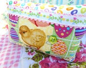 Easter Chick Pillow / Fluffy Yellow Chick / Vintage Fabric Image / Dyed Easter Eggs / Jelly Beans / Easter Decor / Basket Stuffer / Sweet