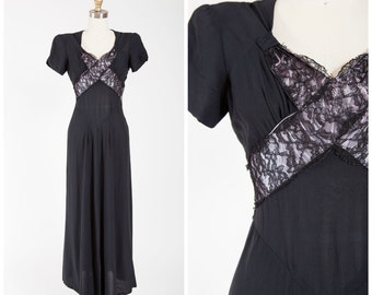 Vintage 1940s Dress • Stolen Secrets • Black Rayon with Lace 40s Evening Gown Size Small