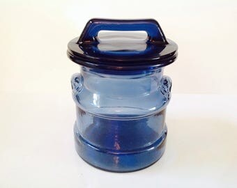 Cobalt Blue Glass Canister, Blue Kitchen Storage Jar, VIntage Blue Glass Storage Canister
