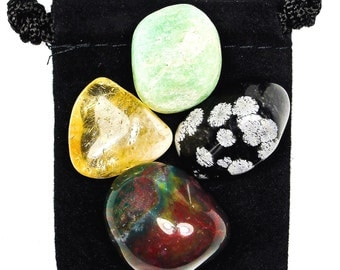 DEVELOP PATIENCE Tumbled Crystal Healing Set - 4 Gemstones w/Description & Pouch - Amazonite, Bloodstone, Citrine, and Snowflake Obsidian