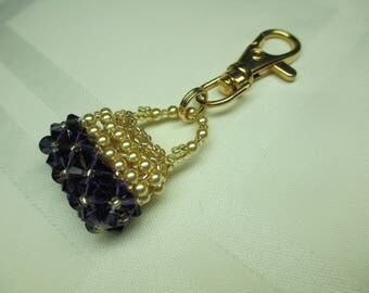 Crystal Purse Charm or Zipper Pull in Deep Purple