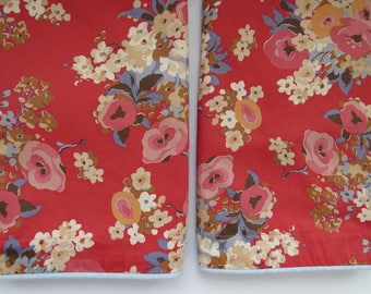 Ralph Lauren King Pillow Shams - Madeline Floral Red - Set of 2 - Shabby Chic Country Cottage - Floral Bedding sheets - Bedroom Decor