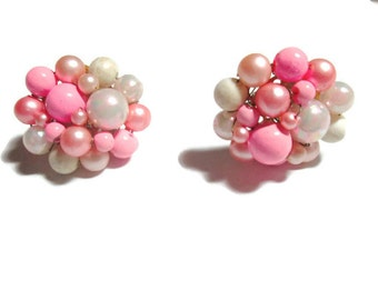 Vintage Cluster Earrings Pink and White 1950s Faux Pearls Made in Japan