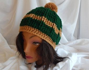 Crochet Pom Pom Hat Beanie - Hunter Green and Camel