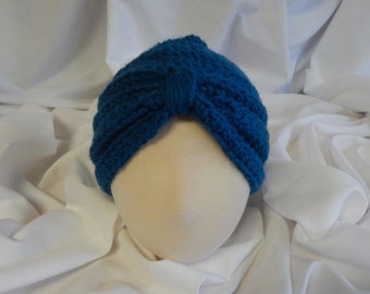 Baby Turban Hat Crochet in Windsor Blue - 3 to 6 Months - Makes a Great Photo Prop