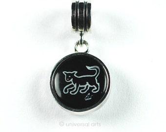 "Jacqueline Ditt - ""Cat - Black & White"" charm silver bead dangle limited Edition Artmultiple Anhänger"