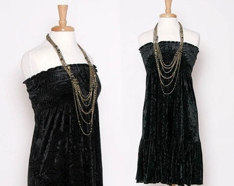 HUGE SALE Vintage 90s Black Velvet Summer Dress / Strapless Dress / Drop Waist
