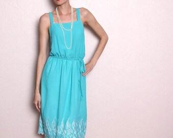ON SALE Vintage Aqua Teal Flapper Dress with Bolero