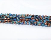 6mm Teal Copper AB Firepolish Glass, 6mm Faceted Teal Glass, 6mm Aurora Borealis Teal, 6mm Copper Firepolish, Copper Teal Rainbow, Teal
