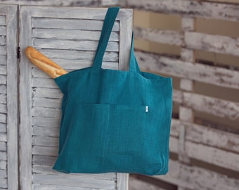 Dark Turquoise Linen Bag, Canvas Bag, Linen Tote Bag, Washed Linen Bag, Big Market Bag, Beach Bag, Big Canvas Bag for Mother