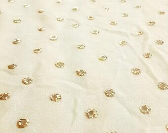 Silk eyelet fabric, dressy fabric, unique, ready to sew, embellished silk, gold embroidery yardage, silk georgette, metal embellishment