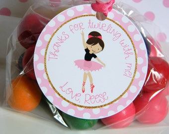 Ballerina Birthday Party Personalized Favor Tags, Thank You Tags, Treat Tags, Goody Bags,  Party Favors, Party Decorations, Set of 12