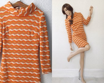 Mod 60's Body Con Sweater Dress, Chevron Stripes in Orange, Cream and Silver, Fitted with Long Sleeves and Boat Neck, by Jan Sue, Size Small